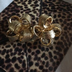 Kenneth Jay Lane Goldtone Ribbon Earrings